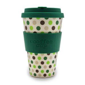 Ecoffee Cup 14oz Green Polka