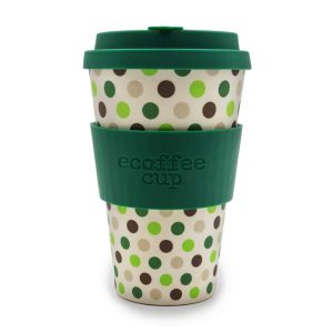 Ecoffee Cup 14oz Green Polka