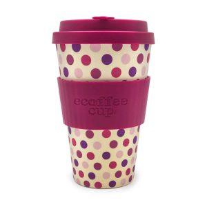 Ecoffee Cup 14oz Pink Polka